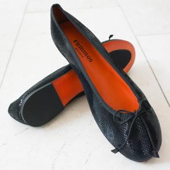 Ballerina  Größe 38  Leder schwarz Schlangenlook C02