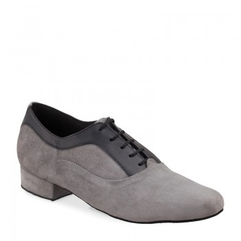 RICARDO Herren Tanzschuhe Nubukleder grau und Leder schwarz Absatz 35M