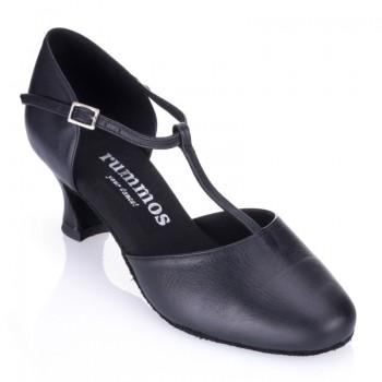 R312 Tanzschuhe geschlossen mit T-Riemchen Leder schwarz Absatz 50G Größe 41,5 E02