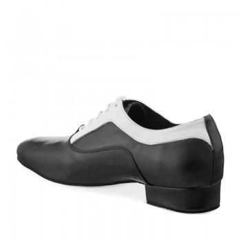 RICARDO Herren Tanzschuhe Leder schwarz und Leder weiß Absatz 35M