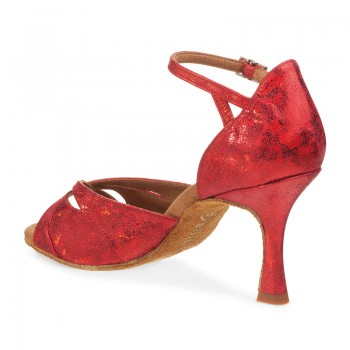 R385 Damen Tanzschuhe Leder rot fantasy Absatz 60R Größe 39,5