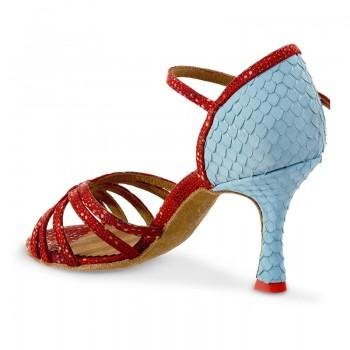 MARYLIN Damen Tanzschuhe Leder rot mit Glitzerpunkten / Fischschuppen blau