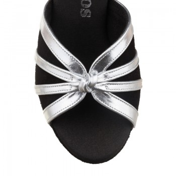 R367 Damen Tanzschuhe Nubukleder schwarz und Leder silber