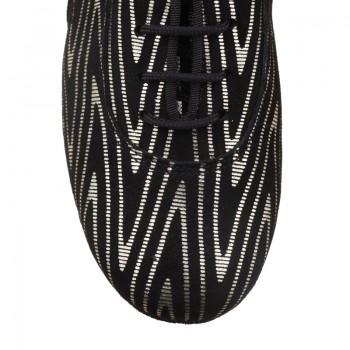 R377-271/024-45 Tanzschuhe Damen Training Leder schwarz und silber Absatz 45