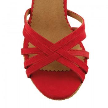 MARYLIN Damen Tanzschuhe Nubukleder rot / Leder rot mit weißen Punkten