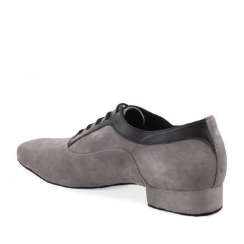 RICARDO Herren Tanzschuhe Leder schwarz Nubukleder grau