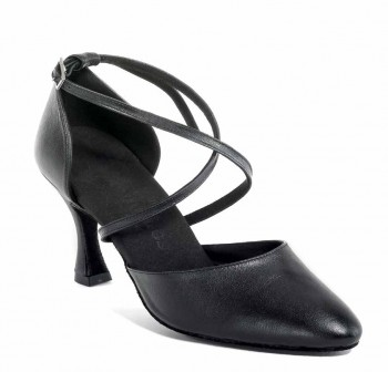 R329 Damen Tanzschuhe geschlossen Leder schwarz