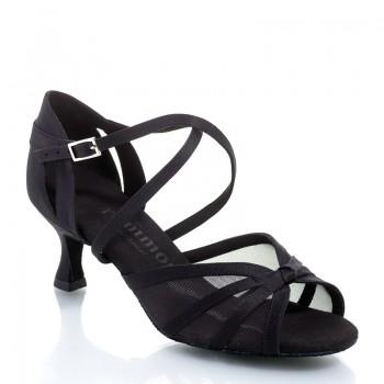 R368 Damen Tanzschuhe mit Netzeinsatz Satin schwarz Absatz 50R Größe 38 B03