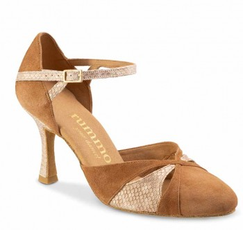 R405 Damen Tanzschuhe geschlossen Nubukleder hellbraun Leder beige Schlangenlook Absatz 50R Größe 39,5 A03