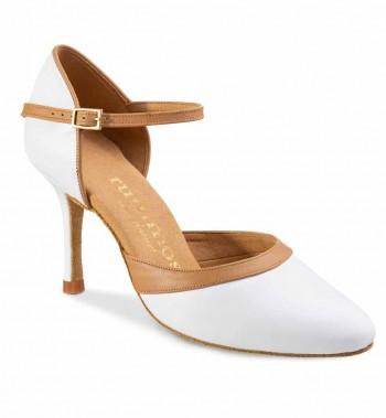 R407 Damen Tanzschuhe Leder weiß Leder nude Absatz 60R Größe 36 A01