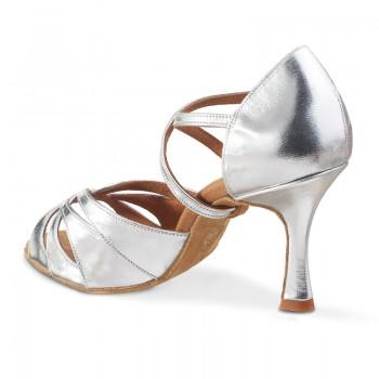 R520 offene Damen Tanzschuhe Leder silber
