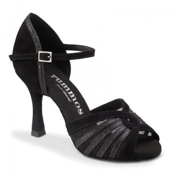 R563 offene Damen Tanzschuhe Nubukleder schwarz Glitzer schwarz Absatz 60R Größe 39 C02