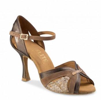 ISABEL Damen Tanzschuhe Nubukleder Taupe Leder braun metallic Leder beige gemustert