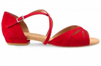LOLA Damen Tanzschuhe Nubukleder rot
