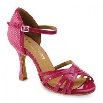 MARYLIN Damen Tanzschuhe Lackleder pink Leder pink mit Glitzer Absatz 60R Größe 39,5 D04