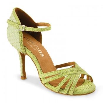 MARYLIN Damen Tanzschuhe Gal grün Leder Fischschuppen grün Absatz 70N Größe 38,5