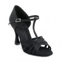 R331 Damen Tanzschuhe offen mit Steg Satin schwarz Absatz 60R Größe 36,5 B02