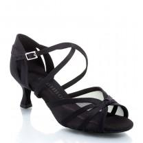 R368 Damen Tanzschuhe mit Netzeinsatz Satin schwarz Absatz 50R Größe 41 C02