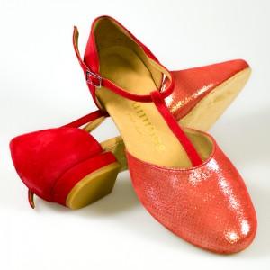 CAROL niedere Damen Tanzschuhe Leder rot mait und Nubukleder rot Absatz 20 Größe 39