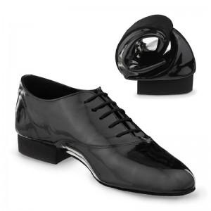 FLEXMAN Herrenschuhe mit flexibler Sohle Lackleder schwarz Absatz 35M