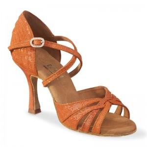 PARIS Damen Tanzschuhe Leder orange glänzend