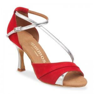 R304 offene Damen Tanzschuhe Nubukleder rot und Leder silber