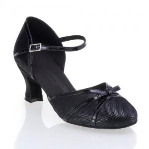 R322 Damen Comfort Tanzschuhe Leder schwarz Diva und Lackleder schwarz Absatz 50G