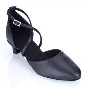 R329 Damen Tanzschuhe geschlossen Leder schwarz Absatz 40G Größe 37,5