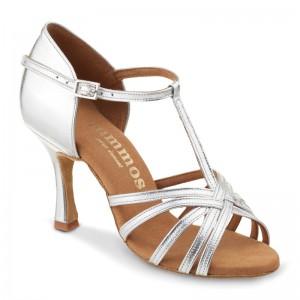 R331 Damen Tanzschuhe offen mit Steg Leder silber Absatz 60R Größe 41
