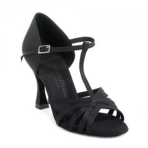 R331 Damen Tanzschuhe offen mit Steg Satin schwarz
