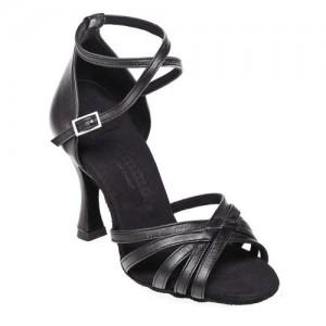R332 Damen Latein Tanzschuhe Leder schwarz