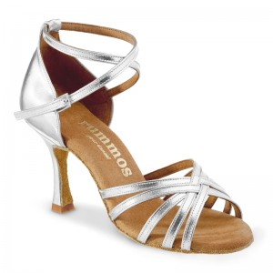 R332 Damen Latein Tanzschuhe Leder silber