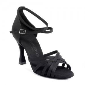 R332 Damen Latein Tanzschuhe Satin schwarz