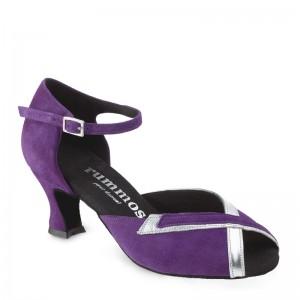 R348 Damen comfort Tanzschuhe vorne offen Nubukleder purple und Leder silber