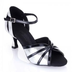 R367 - rummos Tanzschuhe Damen  - Leder silber u. Lack schwarz
