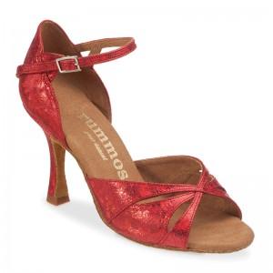 R385 Damen Tanzschuhe Leder rot fantasy