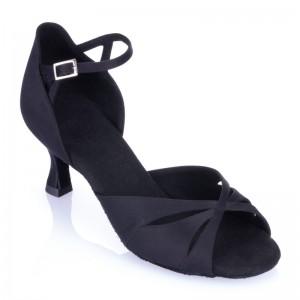 R385-041-50R - Damenschuhe für Hobbytanz - niedriger Absatz - schwarzes Satin