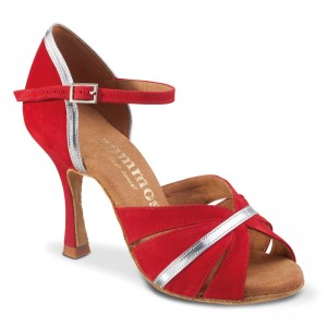 R505 Damen Tanzschuhe Nubukleder rot und Leder silber