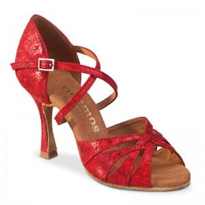 R520 offene Damen Tanzschuhe Leder rot fantasy