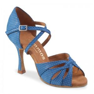 R520-286 Tanzschuhe Damen offen Leder blau mit Punkte Absätze 60R und 70R