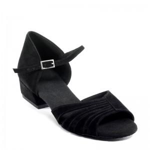 KAYLA flache Damen Tanzschuhe Nubukleder schwarz