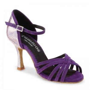 MARYLIN Damen Tanzschuhe Nubukleder purple / Spiegel Leder