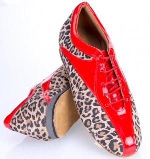 Sky  Absatz 10  Größe 41,5  Leder Leopard und Lackleder rot