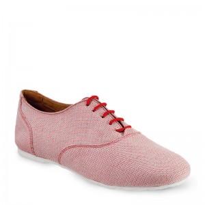 Sals'On Sneaker Stoff rot weiße flache Kunststoffsohle