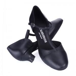 R312 Tanzschuhe geschlossen mit T-Riemchen Leder schwarz Absatz 40G Größe 42 A01