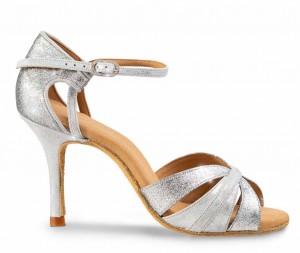 AURA Damen Elite Tanzschuhe Glitzer silber Silber Cuarzo Leder Absatz 80E Größe 36,5 A03
