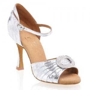 CLEOPATRA Damen Tanzschuhe Leder silber Schlangenlook Absatz 70N Größe 41,5 A02