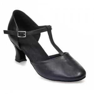 R312 Tanzschuhe geschlossen mit T-Riemchen Leder schwarz Absatz 50G Größe 34 A03