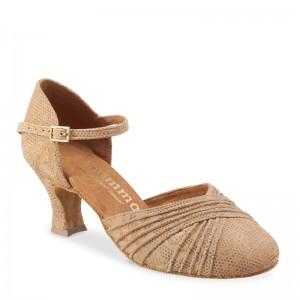 R346 Damen comfort Tanzschuhe Leder Nehru Tan Absatz 50G Größe 38,5 B04