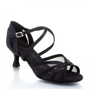 R368 Damen Tanzschuhe mit Netzeinsatz Satin schwarz Absatz 50R Größe 42 C06